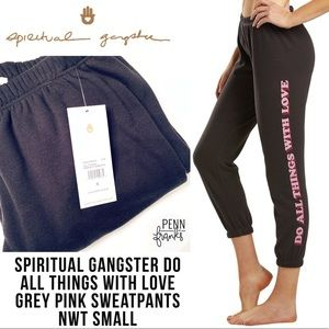 Spiritual Gangster All Things Grey Pink Sweatpants